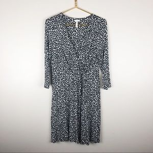 Soma Faux Wrap Dress Black White 3/4 Sleeve Soft